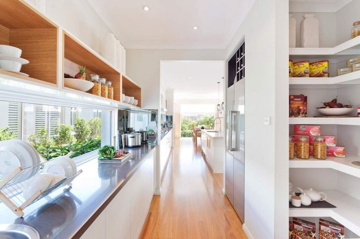 Pacific - Images | McDonald Jones Homes Butlers pantry with white cabinetry, timber shelving and glass window splash back. Gorgeous!