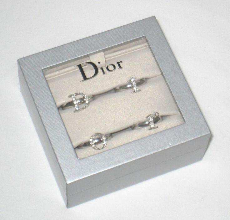 Christian Dior Silver Crystal Logo Letter 4 Finger Midi