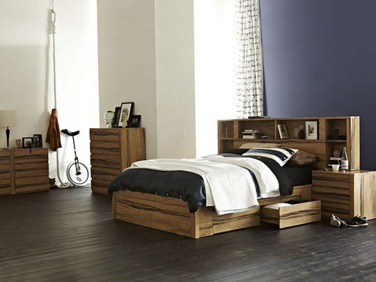 Leeuwin Complete Queen Bed (incl. base & bedside tables). Versatile design that can be sold as a complete bed, a bedhead with attached bedsides or a simple storage base only.