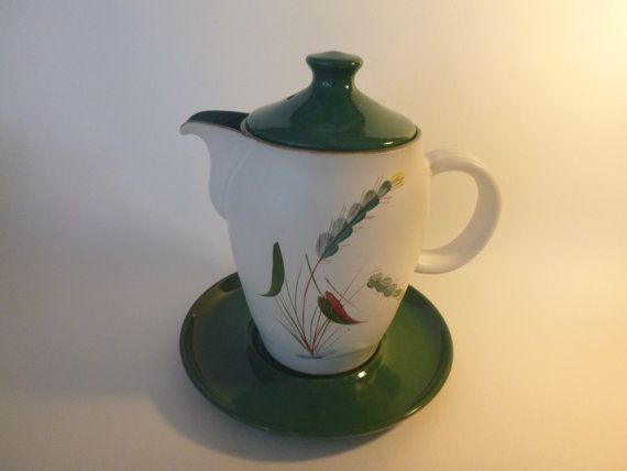 Denby 'Greenwheat' pattern Vintage coffee pot by getgiftideas