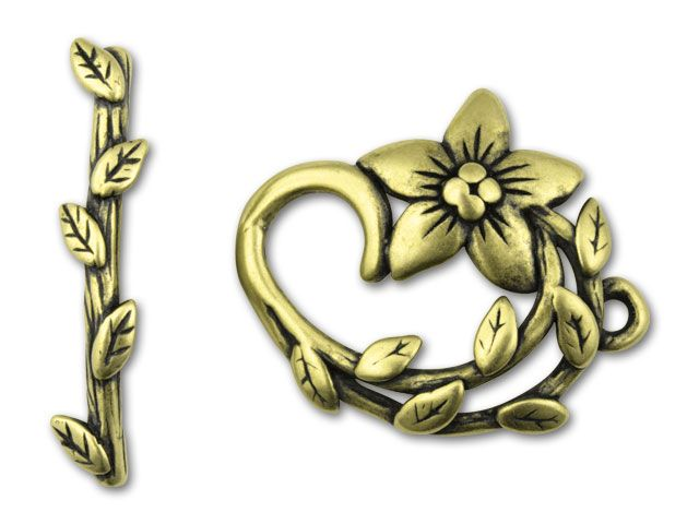 JBB Antique Vintage Brass-Plated Pewter Star-Shaped Flower Toggle Clasp