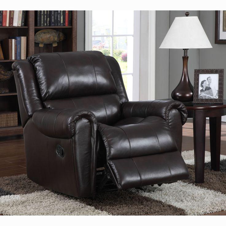 brody brown italian leather rocker recliner chair foam