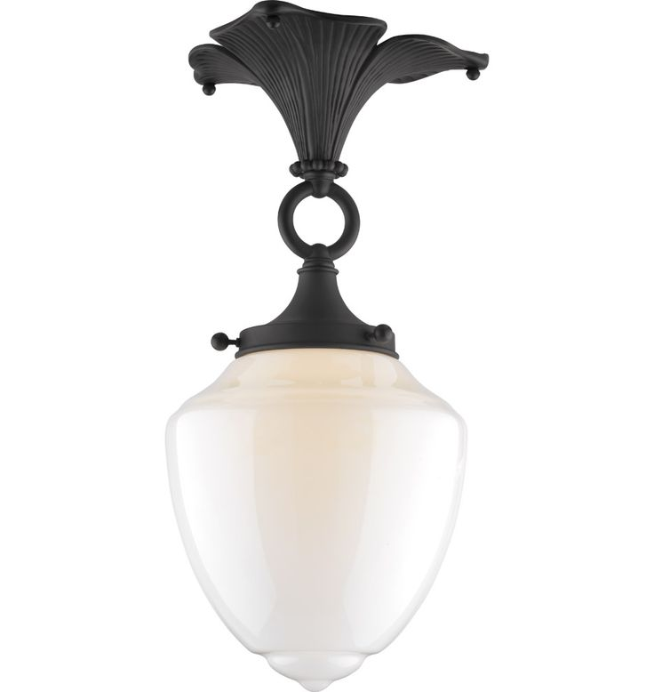 The Broadleaf. Arts & Crafts flush mount fixture in Oil-rubbed bronze finish.
