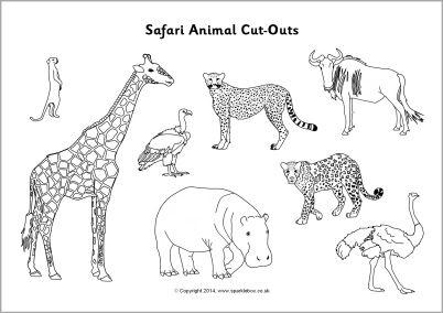 Safari animal cut-outs - black and white (SB10302) - SparkleBox
