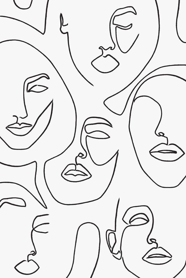 Gedruckte abstrakte Gesichter in Linien, eine Linie Artwork Print, Fashion Poster, minimalist