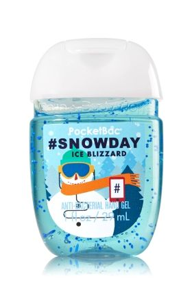 #Snowday - PocketBac Sanitizing Hand Gel - Bath & Body Works - Now with more happy! Our NEW PocketBac is perfectly shaped for pockets & purses, making it easy to kill 99.9% of germs when you're on-the-go! New, skin-softening formula conditions with Aloe & Vitamin E to leave your hands feeling soft and clean.