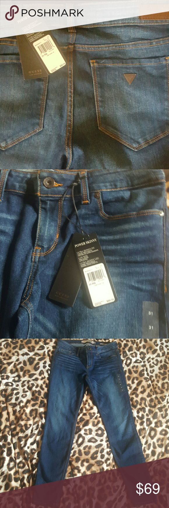 FLASH $25 GUESS  Power Ultra Skinny Low Rise Jean NWT Guess Power Ulta Skinny  Fit Low Rise Denim Jeans   SIZE 31  see pics 3 4, 5, and 6 for more accurate color (  pictures 1 & 2 not accurate color) Guess Jeans Skinny