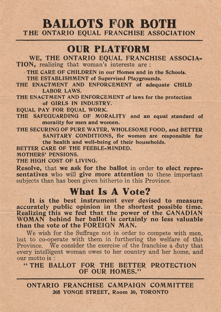 Broadside from 1913 explaining women's suffrage, the right to vote in political elections. Just a century ago, December, 1917, women were granted the vote Ontario. In Quebec, they had to wait until 1940. Asians were not permitted to vote until 1948, Inuit until 1951. First Nations voting was prohibited until 1960, and women are still not afforded the same rights as men due to the Indian Act. #CanadaHistoryWeek #humanrights