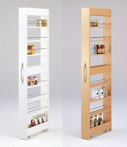 **GREAT idea for next to fridge, and counter! ** Also in GARAGE, next to Washer / Dryer -- Maybe we could put this somewhere for some skinny storage space
