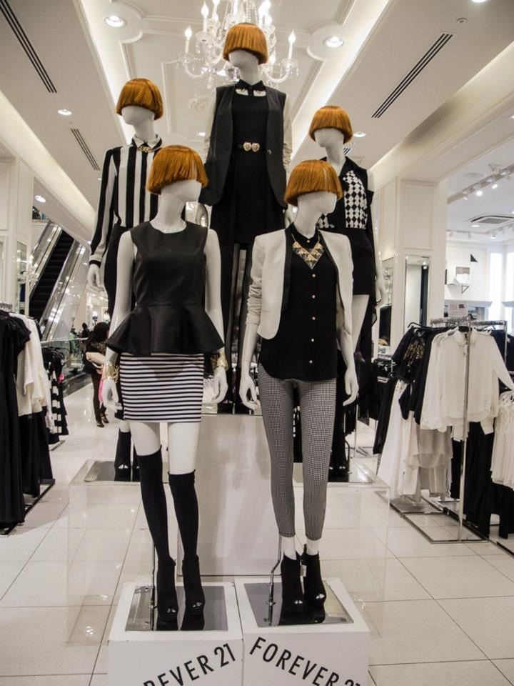 These Mannequins are from Forever 21 and they are semi abstract. They do not have faces and have interesting colored hair. I think it is cool how they are all wearing the same colors and are aligned in the same area.  Nikki Church