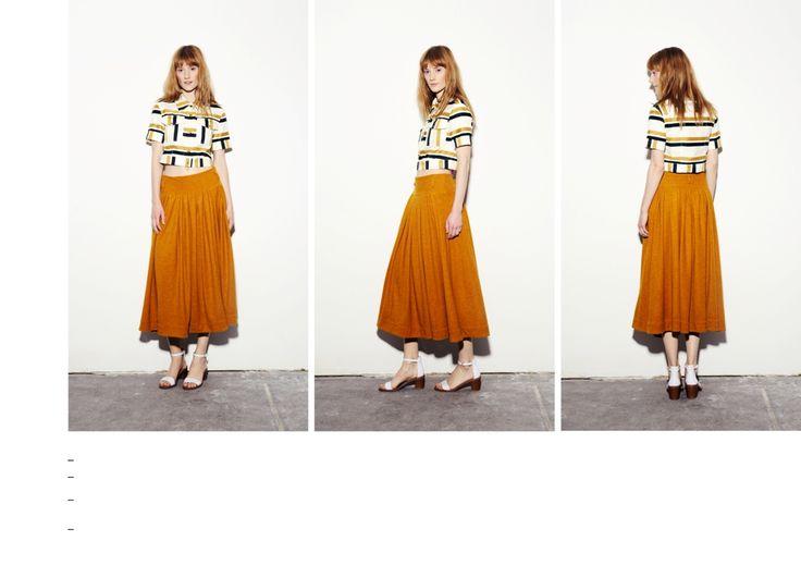 Gold - dark green striped vintage crop shirt and double layered volume mustard skirt
