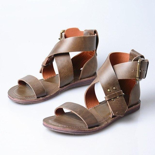 Prova Perfetto Cross Strap Women Gladiator Sandals Flat Beach Shoes Woman Female…