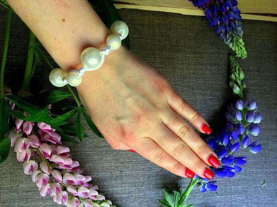 Bracelet of beads bracelet of ribbon bracelet for bridesmaids