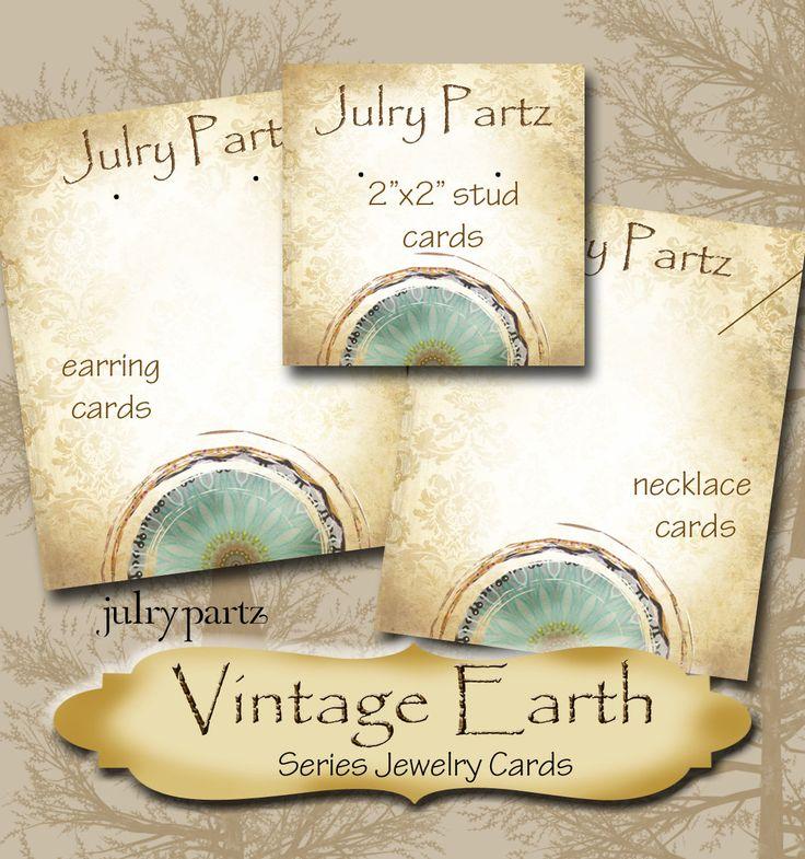 VINTAGE EARTH Series 1•Custom Tags•Labels•Earring Display•Clothing Tags•Custom Hang Tags•Boutique Card•Tags•Custom Tags•Custom Labels by JulryPartZ on Etsy