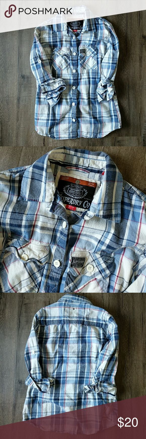SUPERDRY boyfriend check shirt Blue and white plaid shirt 3/4 quarter sleeve  In excellent like new condition! Superdry Tops Button Down Shirts