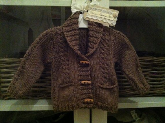 Gorgeous baby boys cardigan in a coco brown by NannysVintageKnit, £14.00