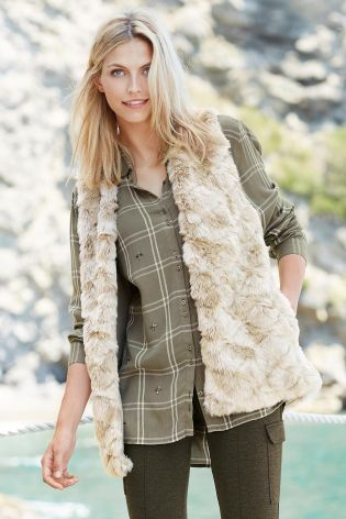 Buy Neutral Faux Fur Gilet from the Next UK online shop