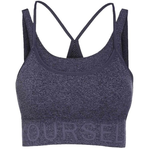 Letter Pattern Grey Sport Bra ($30) ❤ liked on Polyvore featuring activewear, sports bras and grey sports bra