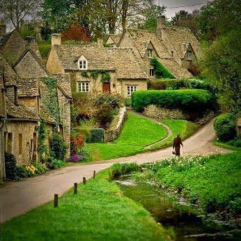 Google+- Bibury, Gloucestershire,England- Often referred as the most beautiful village in England, Bibury is famous for its 17th century sandstone