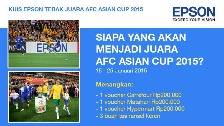 Ikuti kuis tebak juara AFC Asian Cup 2015 dan menangkan hadiah voucher belanja senilai total Rp600 ribu dan 3 buah tas ransel keren.