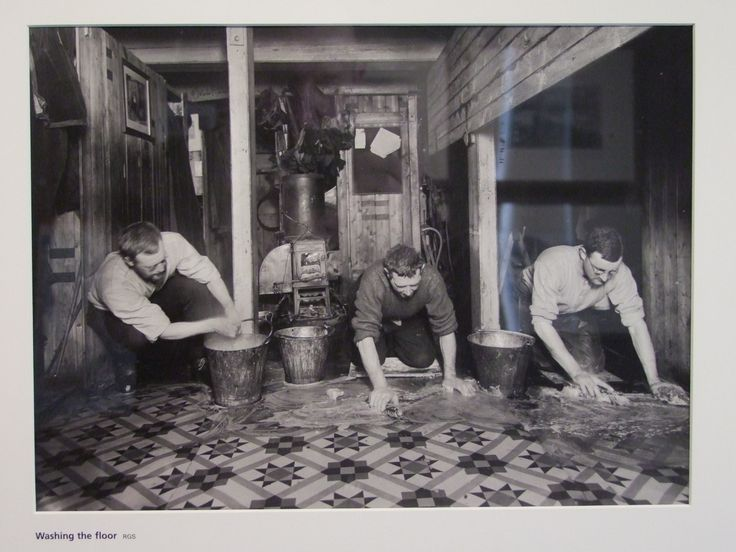 http://shackletonexhibition.com/  Shackleton expedition washing lino floor on the Endurance