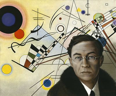 """2] This might be the artist who will play opposite Alexander. In fact this is a photo of the artist Kandinsky standing in front of one of his paintings. Because Kandinsky was much concerned with the spiritual in art, he might serve as a real model for Alex's """"friend"""".  But I have to do some research and learn what Kandinsky thought, before I decide for sure.   http://maryemartintrilogies.com/"""