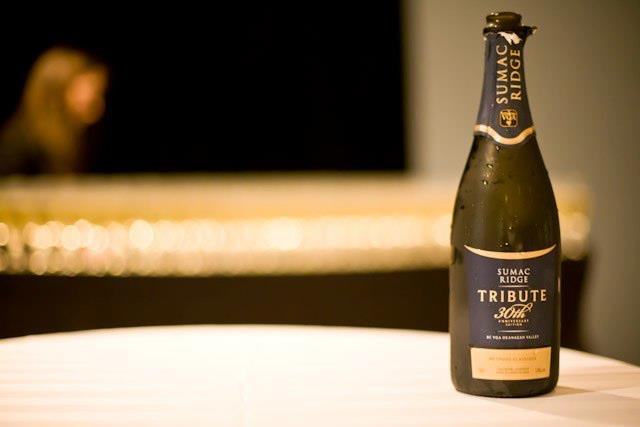 Try the 30th Anniversary Sparkling wine from Sumac Ridge Estate Winery at the Bearfoot Bistro, Whistler