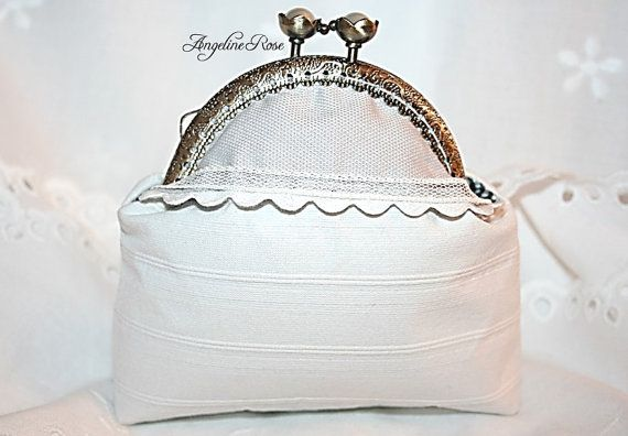 white coin purse white clutch make up bag by AngelineRosePurse