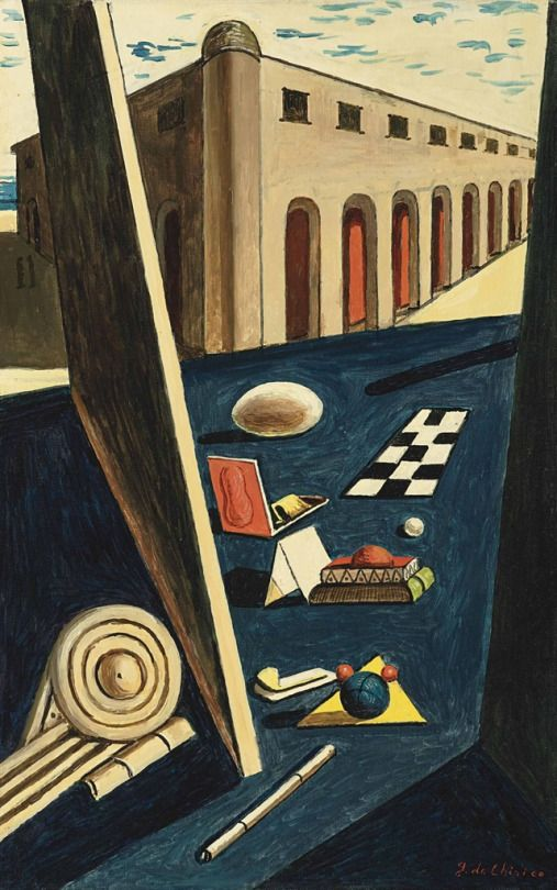 Giorgio de Chirico (Italian, 1888-1978), I giocattoli del re [The king's toys], c.1966. Oil on canvas, 55.3 x 35 cm.