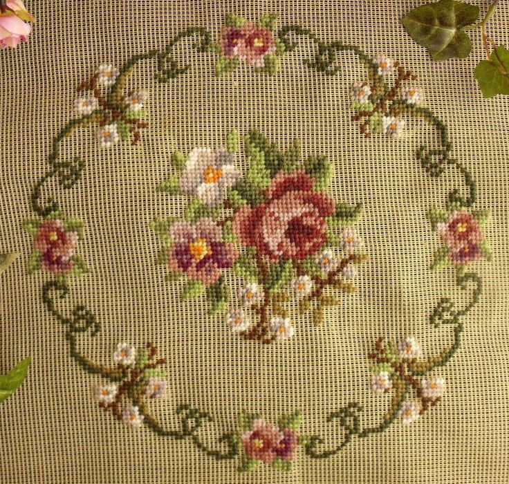 Needlepoint Roses w Round Scrollwork...
