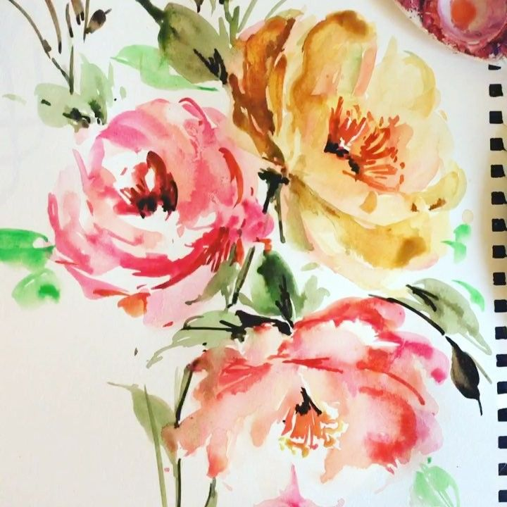 Watercolour And Gouache Flower Painting Rose Illustration