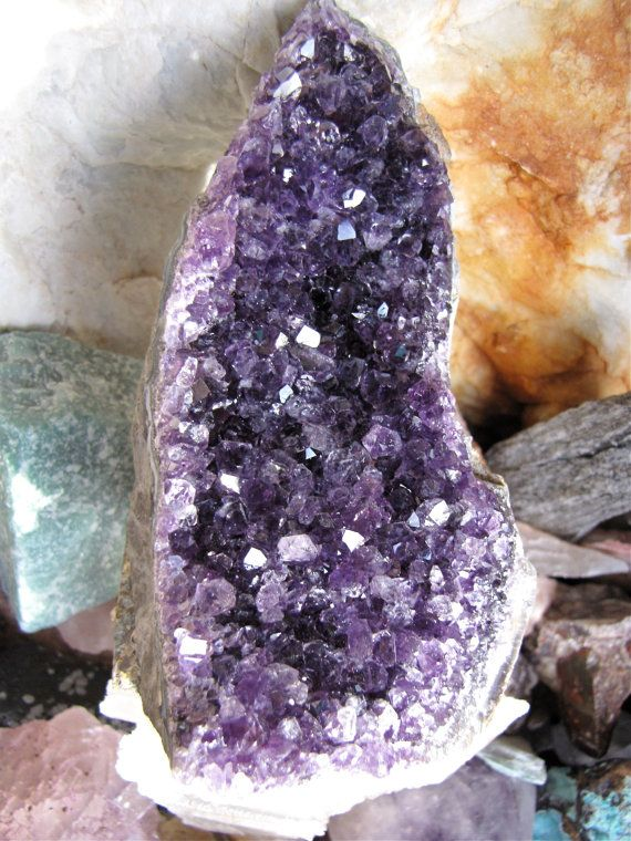 Amethyst Geode Deep Violet Purple Uruguay Amethyst Crystal/Reiki Healing Crystal Meditation/Altar Crystal