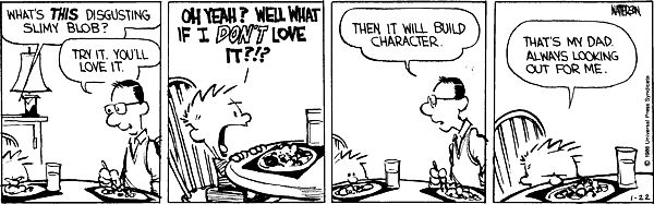 Calvin and Hobbes, Jan 22, 1986 - What's THIS disgusting slimy blob?