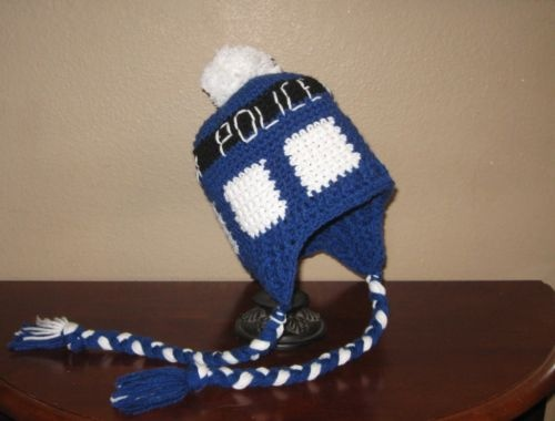 Knitting Pattern Tardis Hat : Tardis Earflap Beanie Hat - Dr. Who The ojays, Dr. who and Beanie