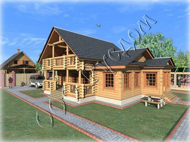 """Проект деревянного дома """"Легенда"""" спроектирован на базе сруба 7 на 7 с рубленой террасой и балконом  Подробнее: http://www.rusdom.ru/projects-houses/legend/"""