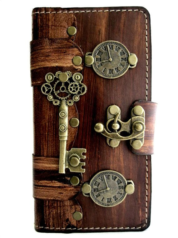 Handmade vegetable cow leather Samsung Galaxy Note 4 case cover holder  wood motif with full steampunk emblem