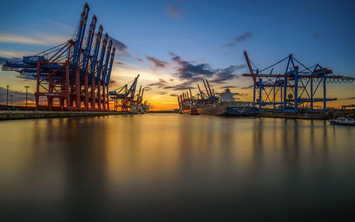 Scarica sfondi Amburgo, porto, gru, tramonto, navi da carico, Germania