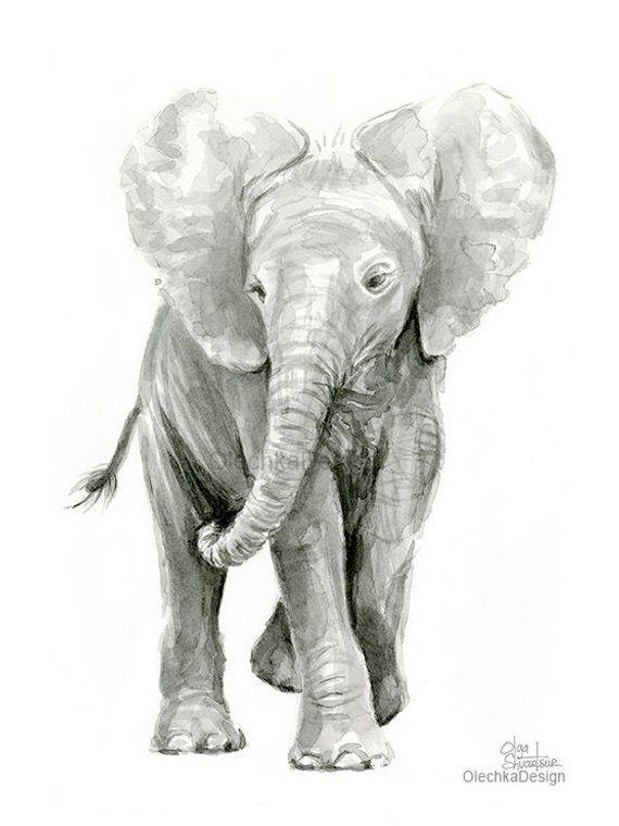 Elephant Art Print Elephant Wall Art Wildlife Art Elephant Art Elephant Print Elephant Canvas Print Elephant Black and White