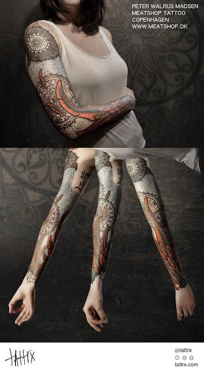 Peter Madsen Meatshop Tattoo - Sacred Geometry and Feather Sleeve    http://tattrx.com/artists/peter-walrus-madsen     tumblr: