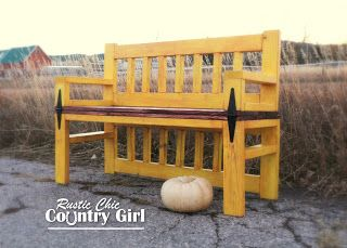 Rustic Chic Country Girl: Aged Yellow Coffee Table Bench ~ ♥