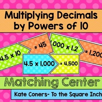 Multiplying Decimals by Powers of 10 Matching Center CCSS: 5.NF.B.7Multiplying Decimals by Powers of 10 Matching CenterIncluded in this product: 20 Multiplying Decimals by Powers of 10 matching cards. (2 versions- Bright backgrounds and black and white)Recording SheetPERFECT for math workshop and centers.Check out my other decimals centers, games, task cards and interactive notebook pages  HERE