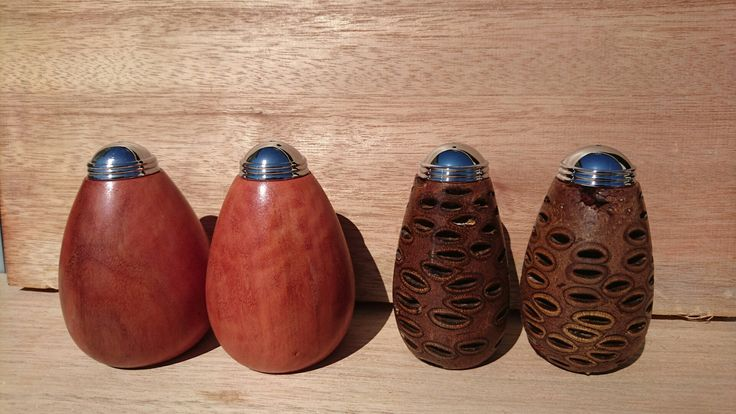 River red gum and banksia nut salt and pepper shakers