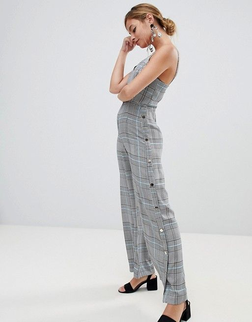 263ac4e4279d River Island Petite jumpsuit with side poppers in check