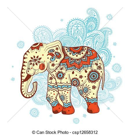 Vector Clip Art de étnico, elefante csp12658312 - Buscar Clipart ...