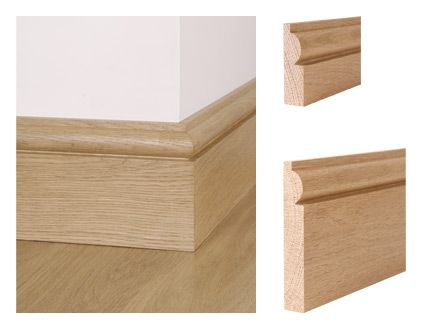 Solid oak torus skirting board and architrave