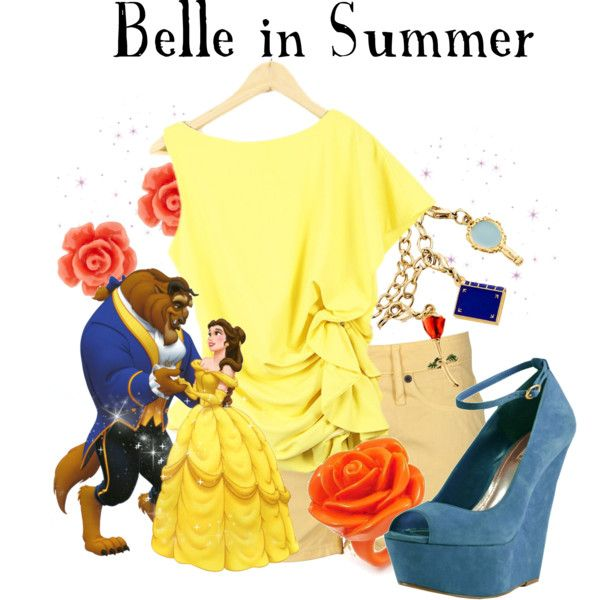 """Belle in Summer"" by agust20 on Polyvore: Summer Collection, Disney Princesses, Disney Clothing, Disney Princess, Disney Moda, Disney Inspiration, Disney Bound, Disneybound Outfit, Disney Fashion"