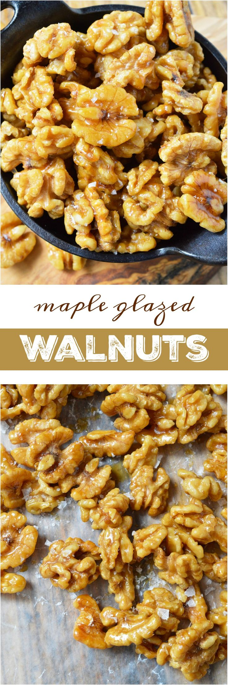 This Easy Maple Glazed Walnuts Recipe requires just 2 ingredients and couldn't get much more simple! These walnuts are lightly sweetened the natural way with pure maple syrup. Just bake, cool and enjoy alone, on salads or in a healthy snack mix!