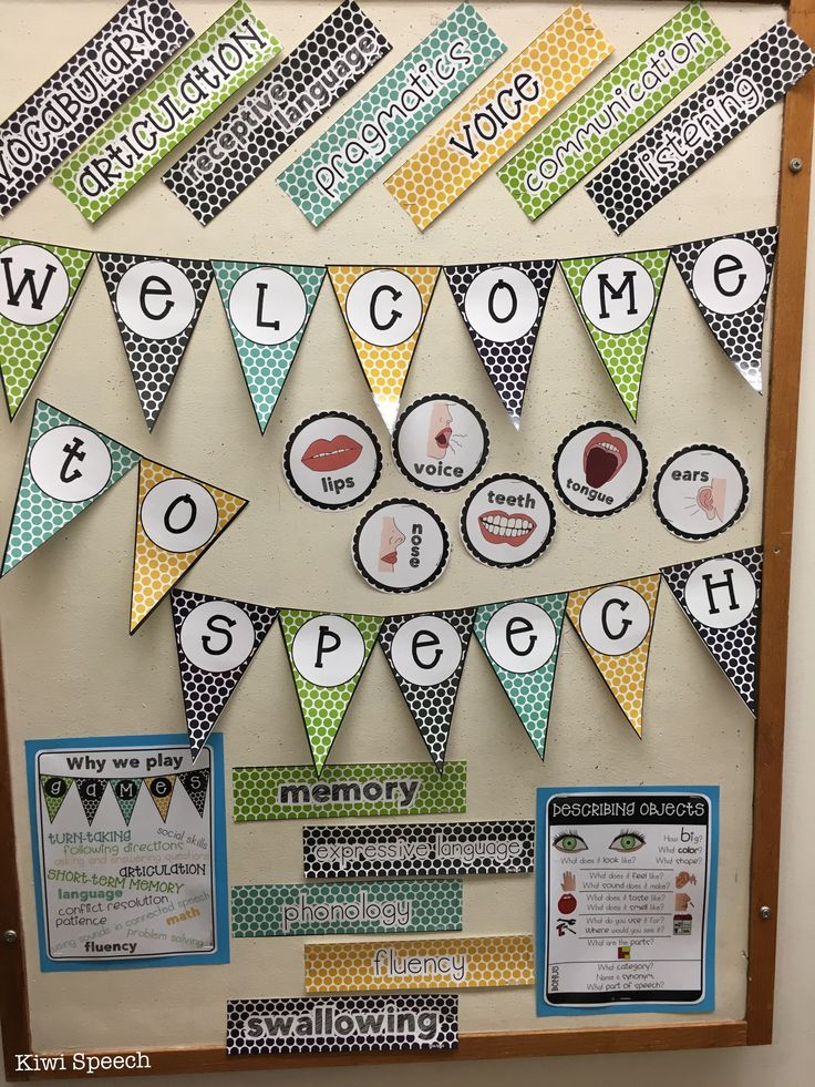 Bulletin board for speech therapy room - keep the decor fresh and bright! Articulator mini-posters, domains of speech and language therapy, describing objects visual aid, parts of speech posters, why we play games in speech,  door signs, binder covers and labels....
