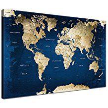 LanaKK - Impresión digital sobre lienzo con dorso de corcho, diseño de mapamundi con océanos, azul, 60 x 40 cm, una sola pieza