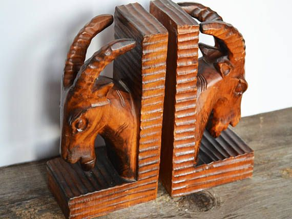 Vintage Wooden Rustic Bookends Set of 2 Mountain Sheep